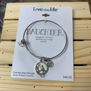 Daughter stainless steel bangle bracelet w/charms